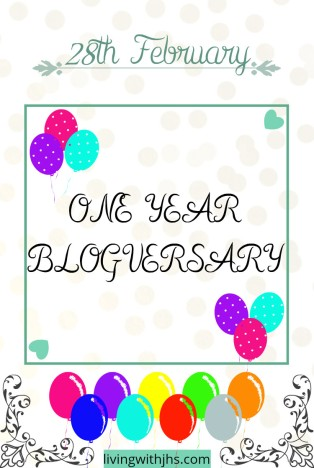 One year blog anniversary! livingwithjhs.com